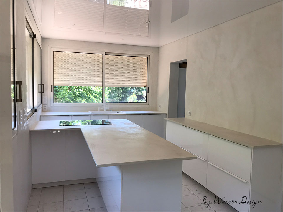 cuisine en beton cire blanc everest