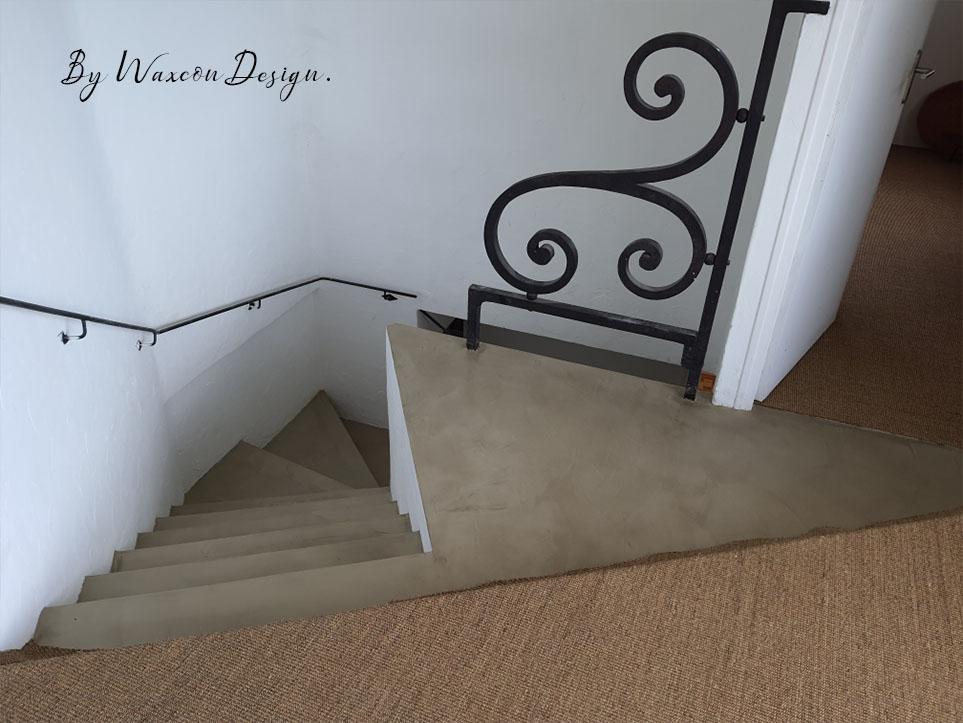 escalier en beton cire renovation