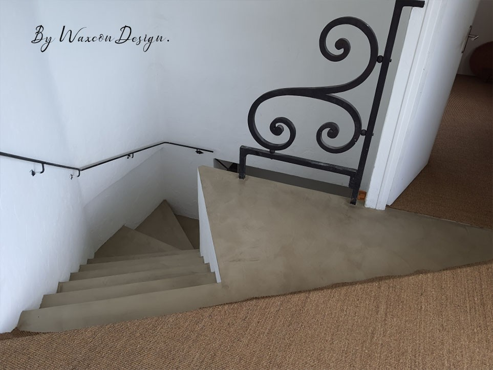 escalier en beton cire renovation